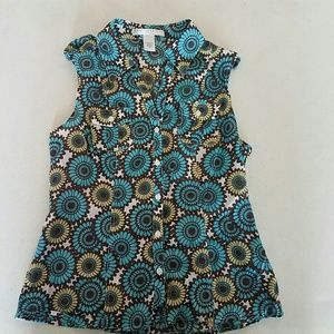 Woman's Large Button Down Sleeveless Blouse